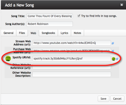 add song window with spotify field circled