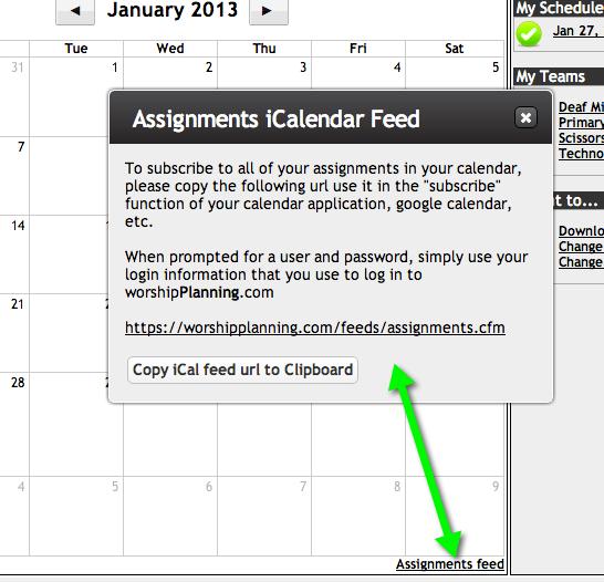 Calendar Feed Dialog