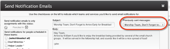 Previously Sent Messages from Schedule Page Screenshot